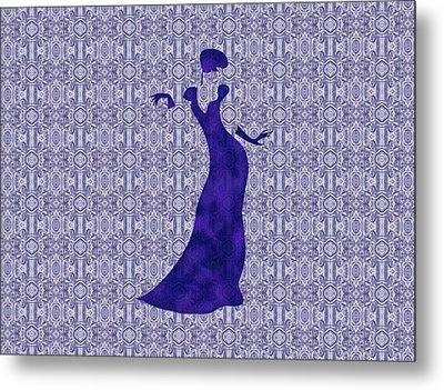 Victorian Lady In Blue For Duvet Metal Print by Barbara St Jean