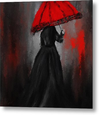 Victorian Lady With Parasol Metal Print