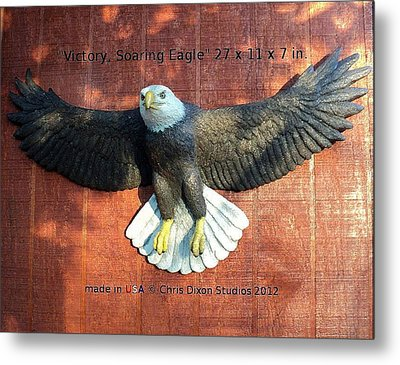 Victory - Soaring Eagle Statue Metal Print by Chris Dixon