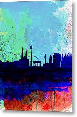 Vienna Watercolor Skyline Metal Print by Naxart Studio