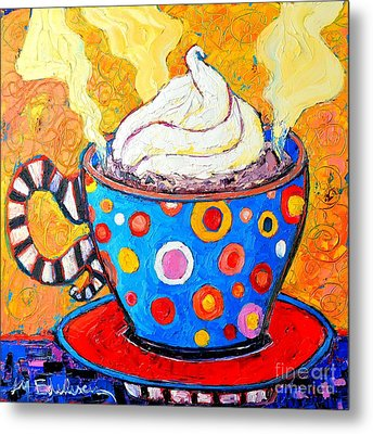 Viennese Cappuccino Whimsical Colorful Coffee Cup Metal Print by Ana Maria Edulescu