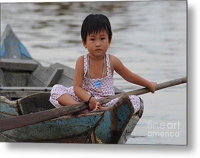 Vietnamese Girl On Lake Tonle Sap Metal Print