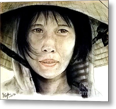 Vietnamese Woman Wearing A Conical Hat Metal Print by Jim Fitzpatrick