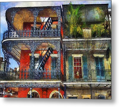 Metal Print featuring the photograph Vieux Carre' Balconies by Tammy Wetzel