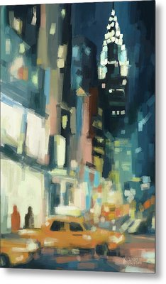 View Across 42nd Street New York City Metal Print by Beverly Brown