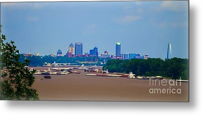 View From A Far St. Louis Downtown Metal Print by Peggy Franz