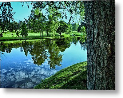 View From Accross The Lake Metal Print by Tom Mc Nemar