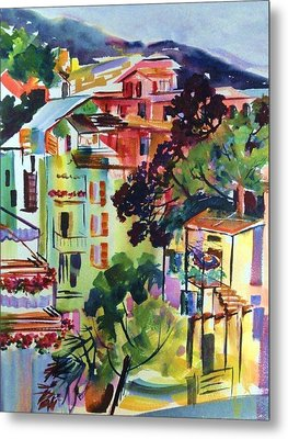 View From Our Hotel Window Cinque Terre Metal Print by Therese Fowler-Bailey