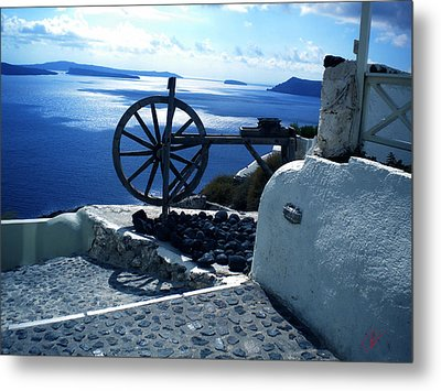 Metal Print featuring the photograph View From Santorini Island Greece by Colette V Hera  Guggenheim
