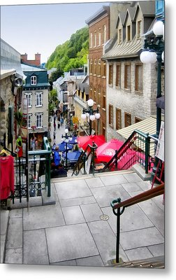 View From The Stairs Old Quebec City  Metal Print by Ann Powell