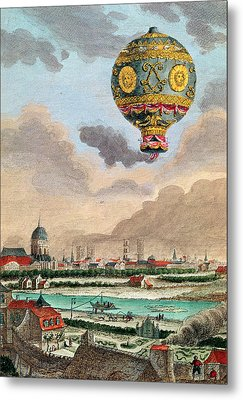 View From The Terrace Of Monsieur Franklin At Passy Of The First Flight Under The Direction Metal Print by French School