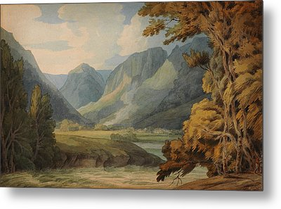 View In Borrowdale Of Eagle Crag And Rosthwaite Metal Print by Celestial Images