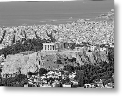 View Of Acropolis From Lycabettus Hill During Dawn Metal Print by George Atsametakis
