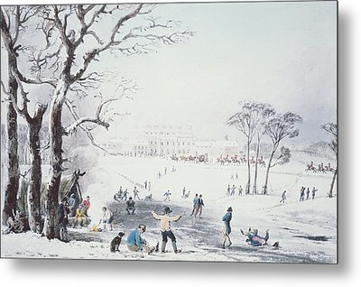 View Of Buckingham House And St James Park In The Winter Metal Print