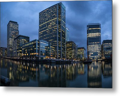 View Of Canary Wharf At Night Metal Print by Panoramic Images