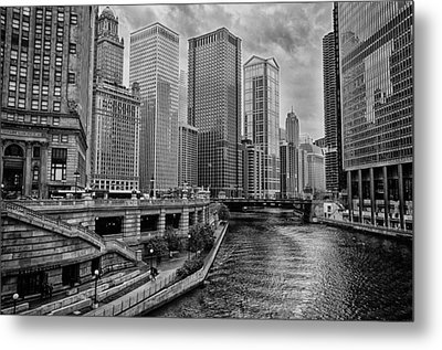 View Of Chicago River Metal Print by Mike Burgquist