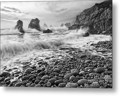 View Of Crashing Waves From Soberanes Point In Garrapata State Park In California Black And White. Metal Print by Jamie Pham