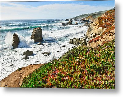 View Of Crashing Waves From Soberanes Point In Garrapata State Park In California. Metal Print by Jamie Pham