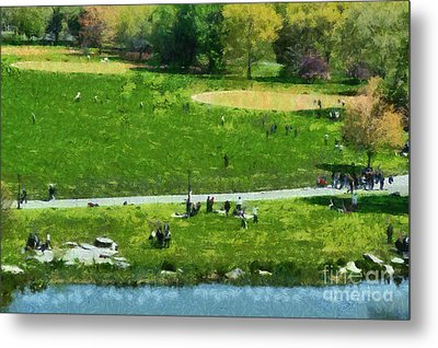 View Of Great Lawn In Central Park Metal Print by George Atsametakis