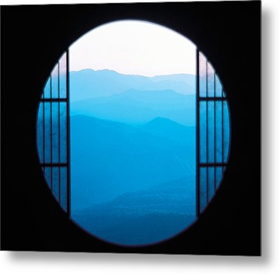 View Of Hazy Blue Mountain Ranges Metal Print by Panoramic Images
