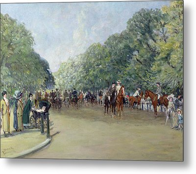 View Of Hyde Park With Figures On Rotten Row  Metal Print by Albert Jnr Ludovici