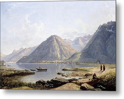 View Of Lake Geneva With The Town Of Villeneuve Metal Print by Francis Danby