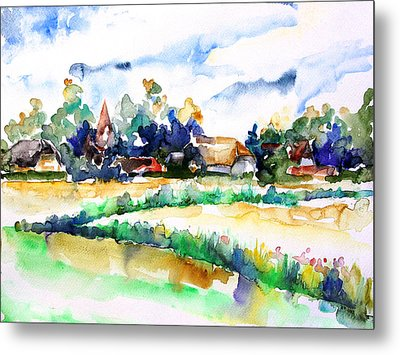 View Of Ludorf Over The Meadows  Metal Print by Barbara Pommerenke