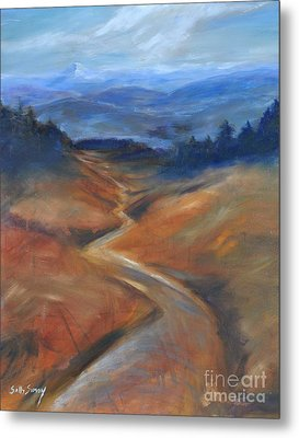 Metal Print featuring the painting View Of Mt Hood by Sally Simon