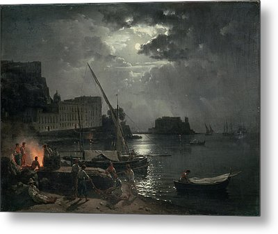 View Of Naples In Moonlight Metal Print