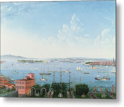 View Of New York Harbor From Brooklyn Heights Metal Print