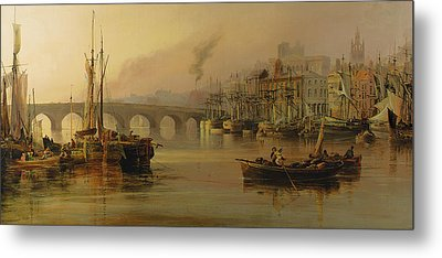 View Of Newcastle From The River Tyne Metal Print by Thomas Miles Richardson