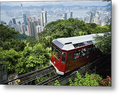 View Of Peak Tram Arriving At The Top Metal Print by Axiom Photographic