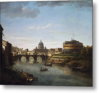 View Of Rome From The Tiber Metal Print