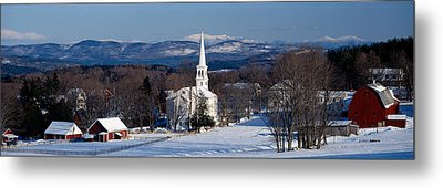 View Of Small Town In Winter, Peacham Metal Print