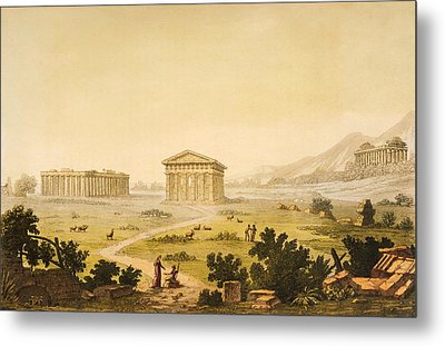 View Of Temples In Paestum At Syracuse Metal Print by Giulio Ferrario