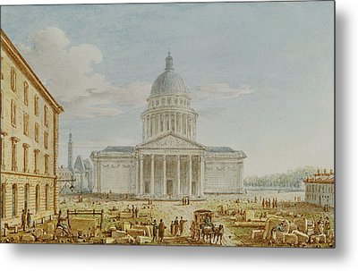 View Of The Church Of St. Genevieve, The Pantheon, 18th-19th Century Wc On Paper Metal Print by Victor Jean Nicolle