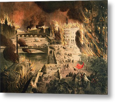 View Of The Fires In Paris During The Commune On The 24th And 25th Of May, 1871 Colour Litho Metal Print by French School