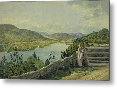 View Of The Hudson Circa 1817 Metal Print by Aged Pixel