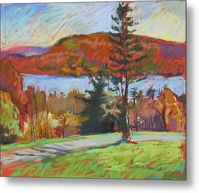 Metal Print featuring the painting View Of The Lake by Linda Novick