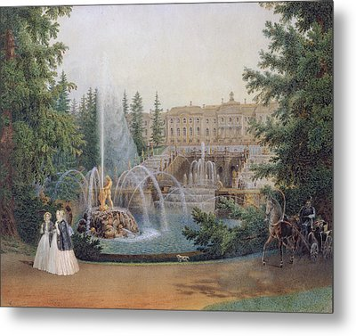 View Of The Marly Cascade From The Lower Garden Of The Peterhof Palace Metal Print by Vasili Semenovich Sadovnikov