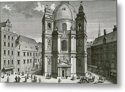 View Of The Peterskirche, Vienna Engraved By Johann Bernard Hattinger Metal Print