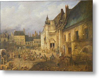 View Of The Place De Lhotel De Ville, Saint-omer, 1832 Oil On Canvas Metal Print by Charles Goureau