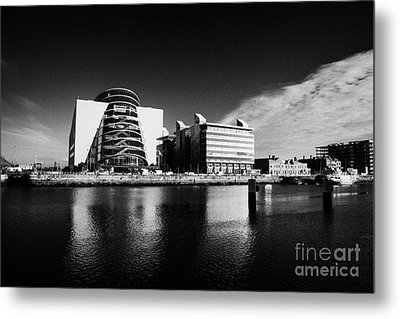 View Of The River Liffey And The Convention Centre Dublin Republic Of Ireland Metal Print by Joe Fox
