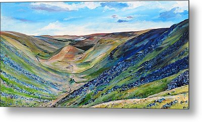 View Of Troutbeck From Stony Cove Pike The Lake District Metal Print by Robina Osbourne