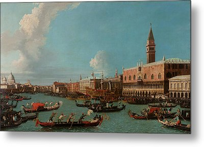 View Of Venice With The Doge Palace And The Salute Metal Print by Canaletto