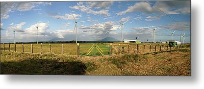 View Of Wind Turbines In Farm Metal Print by Panoramic Images