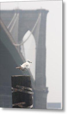 View On Brooklyn Bridge Metal Print by Vadim Levin