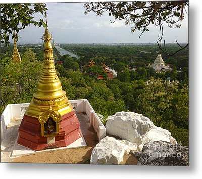 Metal Print featuring the photograph View Over Ancient City Of Mandalay Aungmyaythazan From Mandalay Hill Mandalay Burma by Ralph A  Ledergerber-Photography