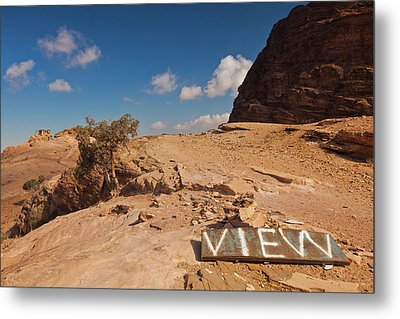 View Point Sign, Ad Deir Monastery Metal Print