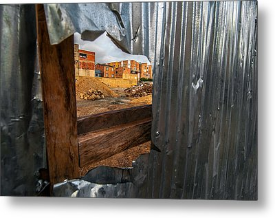 View Through A Damaged Fence Metal Print by Jess Kraft